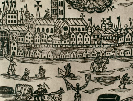 Great plague of London. 1665-1666. Great Britain. Engraving, 17th century.Great plague of London. 1665-1666. Contemporary engraving. People fleeing the city, corpse being taken away and women praying. Great Britain. (Photo by: PHAS/Universal Images Group via Getty Images)