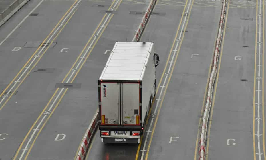 Lorry heading on to a ferry at Dover