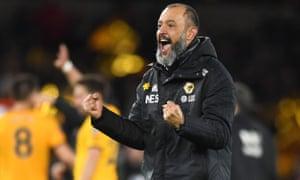 Nuno Espirito Santo, manager of Wolverhampton Wanderers celebrates their victory.