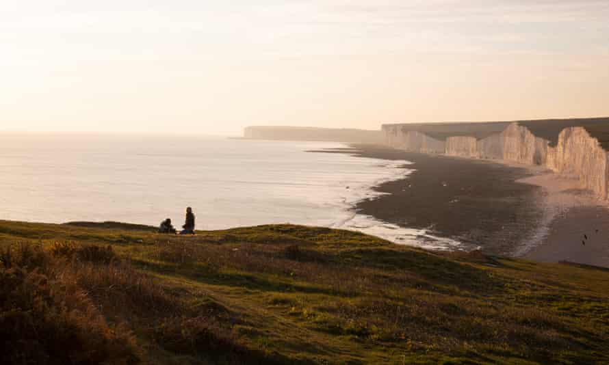 Walkers on the Seven Sisters, South Downs