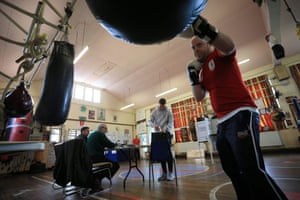 Out for the count: people vote at the East Hull Boxing Club in Kingston upon Hull.