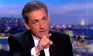 Nicolas Sarkozy speaking during an interview on France's TF1 news