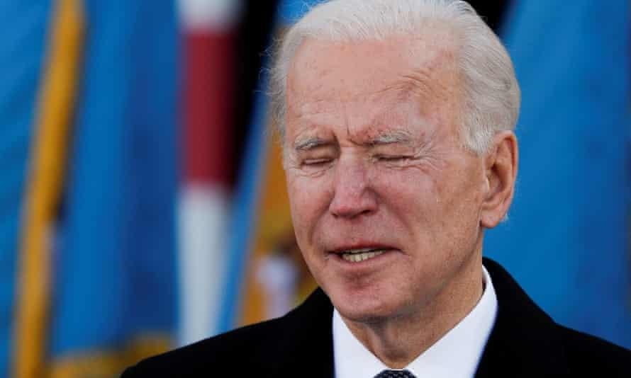 Joe Biden cries as he speaks during an event at Major Joseph R 'Beau' Biden III National Guard/Reserve Center in New Castle, Delaware.