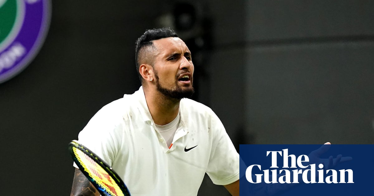 'This isn't grass': Nick Kyrgios rants then rallies in suspended Wimbledon epic