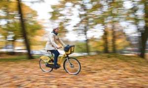 A woman cycling in Finland. 'The Finns have just experineced the fastest health improvements recorded among 20 affluent countries.'