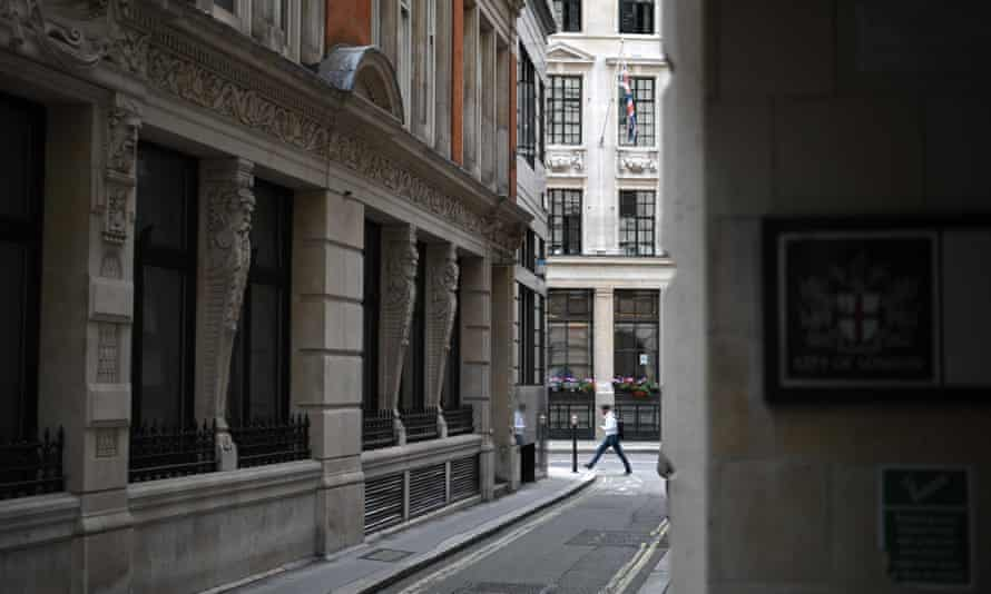 London's financial districts remain largely abandoned by workers still worried about the pandemic.