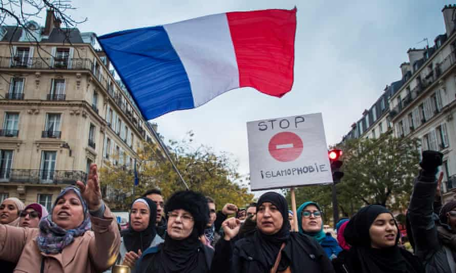 A protest against Islamophobia in Paris, November 2019: 'Islamophobia has not supplanted its racist predecessors, but energised them.'