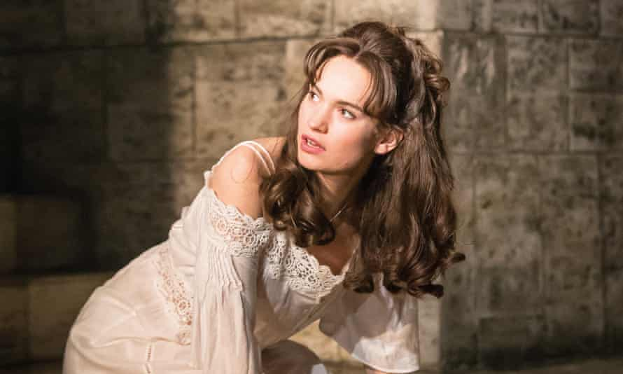 Off the shoulder ... Lily James as Juliet.