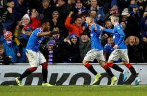 Steven Davis celebrates scoring the second for Rangers.