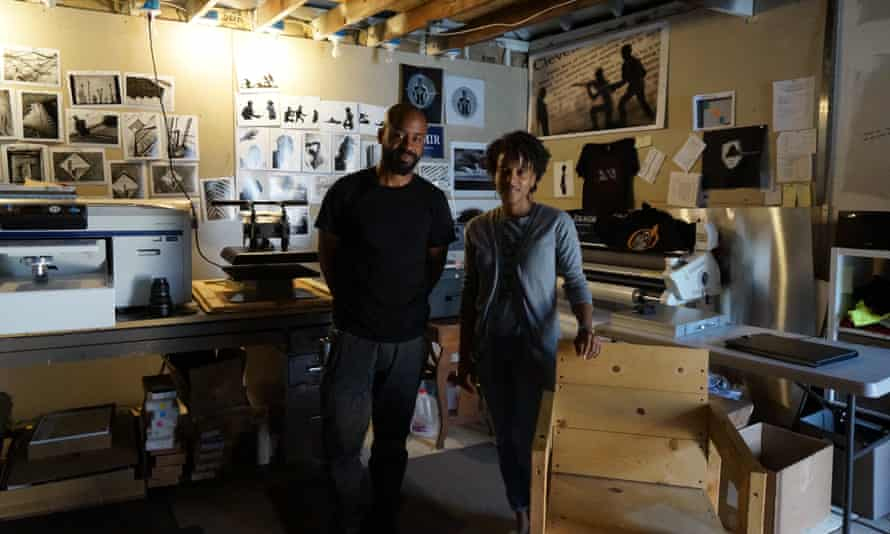 Artists Donald Black and Ali McClain in Black's studio.