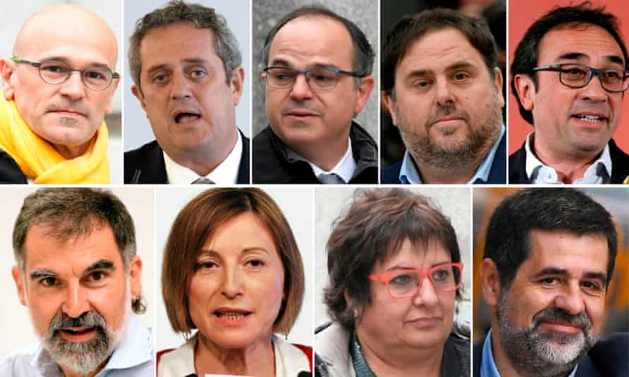 The nine Catalan separatist leaders sentenced on Monday