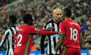 Jonjo Shelvey squares up to Swansea's Jordan Ayew on a day when the Newcastle midfielder was in argumentative mood.