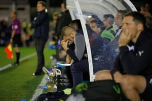 Despair on the home bench just before the final whistle
