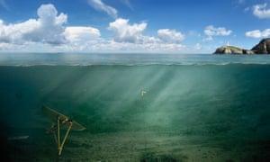 Tethered undersea kites made by the sea-power company Minesto.