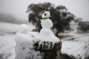A miniature snowman on a cattle yard fence near Cooma