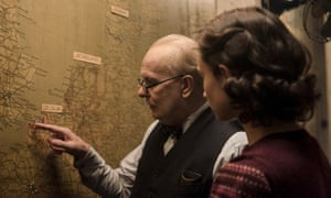 Gary Oldman and Lily James in Darkest Hour