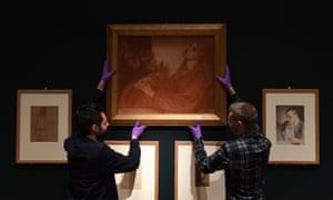 Gallery technicians install Ricorditi di me che son la Pia (from Dante's Purgatorio) by Dante Gabriel Rossetti