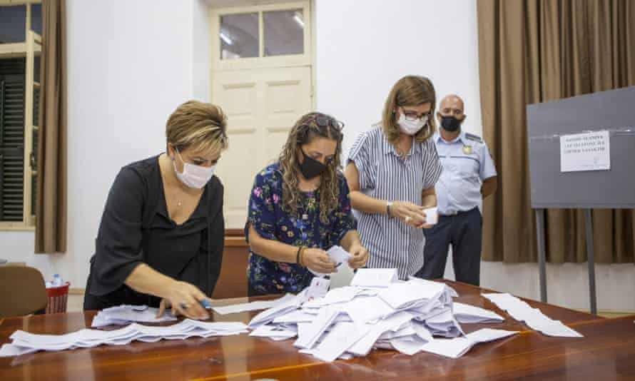 Turkish-Cypriot election staff members start counting votes for the election of a new leader for the self-proclaimed Turkish Republic of Northern Cyprus.