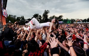 Mexico City, Mexico Sophie Hawley-Weld, of German-American musical duo Sofi Tukker, crowd surfs with fans during the Corona Capital music festival