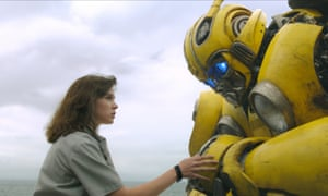 Hailee Steinfeld and robot friend in forthcoming Transformers spinoff Bumblebee.