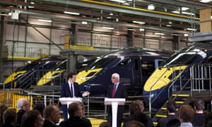 Alistair Darling (right) with George Osborne at a Remain event at the Hitachi Rail Europe plant on Wednesday.