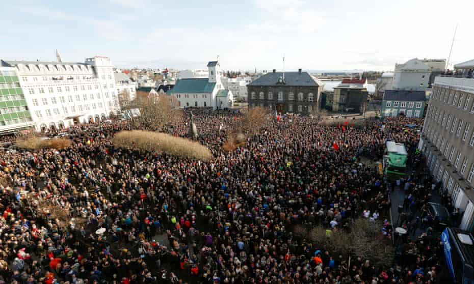 'A staggering tenth of the electorate demonstrated in front of the parliament building in Rekyavik.'