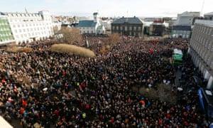 Protests on Monday in Reykjavik
