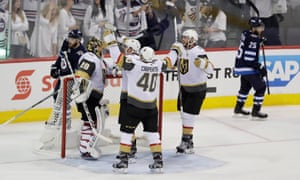 Marc-Andre Fleury (29) celebrates with team-mates after defeating the  Winnipeg b51bc3025