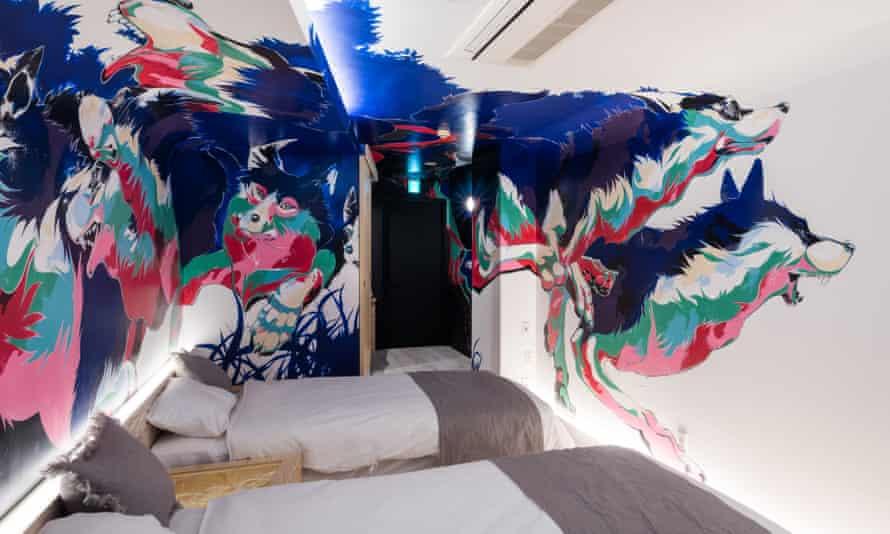 A bedroom at BnA Art Hotel, Koenji, Tokyo