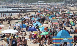 Bournemouth beach as temperatures rose across the UK.