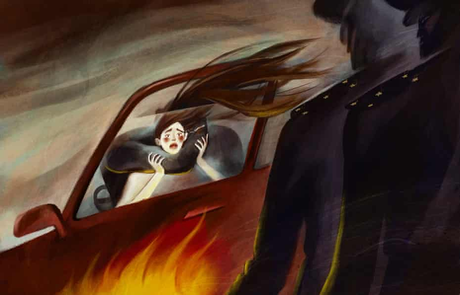 Artwork  by Tatyana Zelenskaya about the abduction and murder of Aizada Kanatbekova, showing a woman in a car with an arm around her neck while two policemen look on impassively