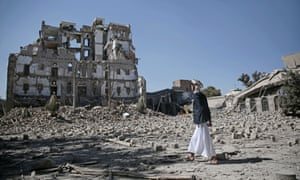 The Republican Palace, destroyed by Saudi-led airstrikes, in Sanaa, Yemen.