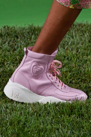 Candy-pink Escada basketball sneakers seen at New York fashion week, 2018.