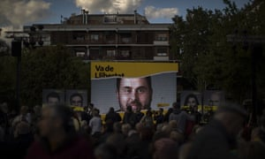 A portrait of Republican Left party leader Oriol Junqueras displayed on stage before a broadcast of him live from a prison in Madrid, as he takes part during a closing election campaign event in Barcelona, Spain, Friday, April 26, 2019.