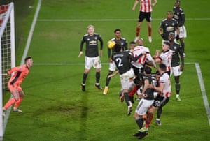David McGoldrick heads in Sheffield United's second.