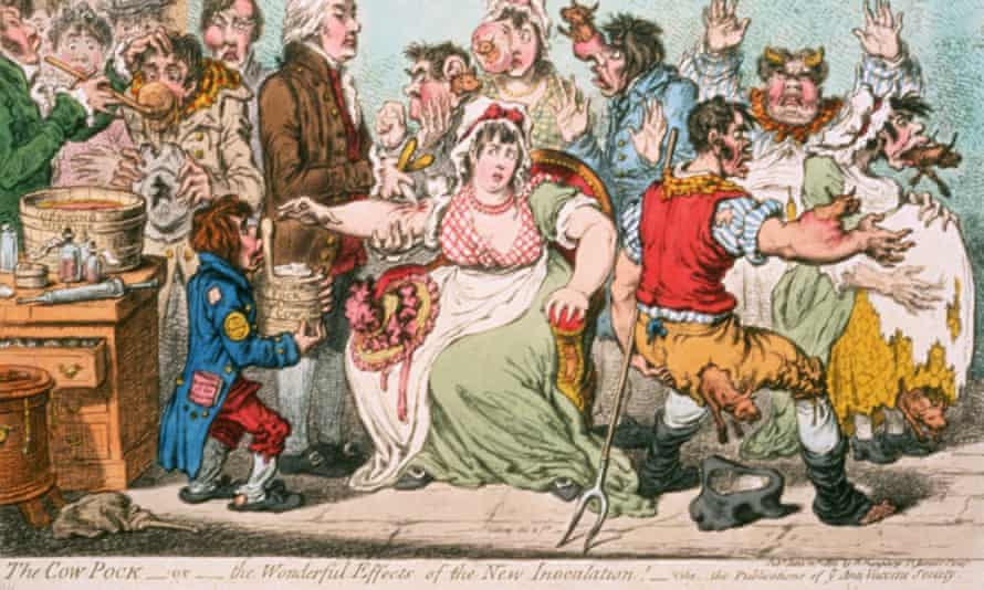 The Cow Pock – or The Wonderful Effects of the New Inoculation by James Gillray in 1802.