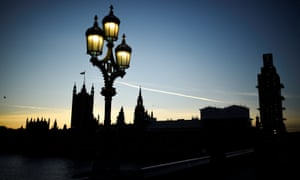The Houses of Parliament silhouetted at sunset in London