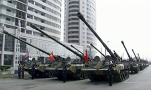 Tanks prepare to parade in Pyongyang on Saturday as part of celebrations marking the birth of founder Kim Il-sung on Saturday.