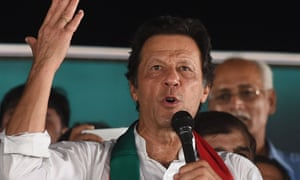 Imran Khan gives a speech during a political campaign rally outside Lahore.