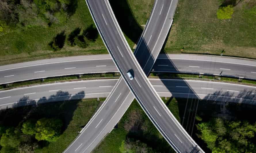 An almost empty motorway interchange