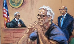 Jeffrey Epstein looks on near his lawyer Martin Weinberg and Judge Richard Berman during a status hearing in his sex trafficking case, in this court sketch in New York on Wednesday.