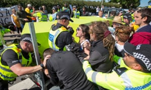 Protesters at Preston New Road's Cuadrilla site, Lancashire.