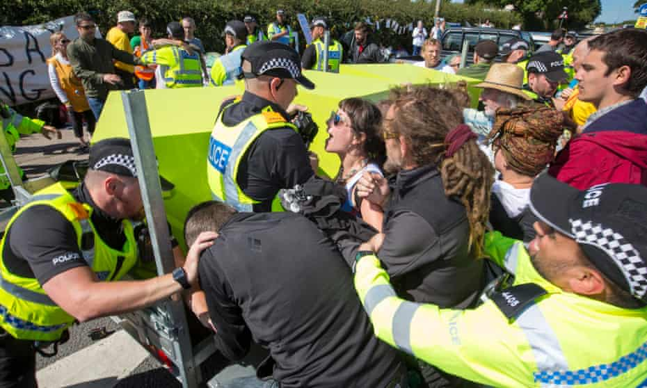 A anti-fracking protest in Lancashire, in July 2017.