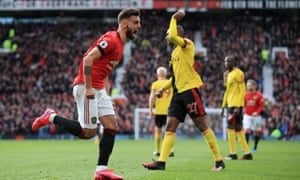Bruno Fernandes celebrates after scoring his first goal for Manchester United, in the 3-0 win against Watford.