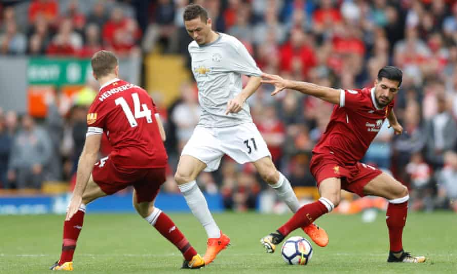 Jordan Henderson and Emre Can, right, here competing for possession with Manchester United's Nemanja Matic, played the full game for Liverpool but should Jürgen Klopp have been bolder?