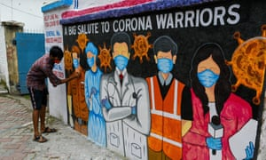 A wallart was painted in association with 62 pally club of south Kolkata to commemorate and pay respect to the essential service workers who are fighting tirelessly in the war against coronavirus in the city and the world at large. COVID-19 wallart in Kolkata., West Bengal, India - 07 Aug 2020