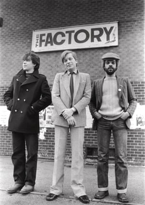 Graphic designer Peter Saville (left) with Factory co-founders Tony Wilson (centre) and Alan Erasmus, 15 June 1978.