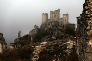 Rocca Calascio, a mountaintop fortress that was damaged by an earthquake in 1461, lays abandoned near to Santo Stefano
