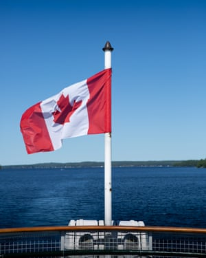 Canadian flag on the steamboat