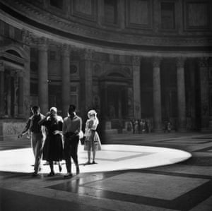 Walking under the oculus in the Pantheon, 1960
